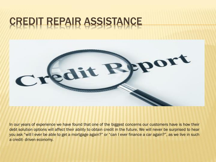 Credit repair assistance