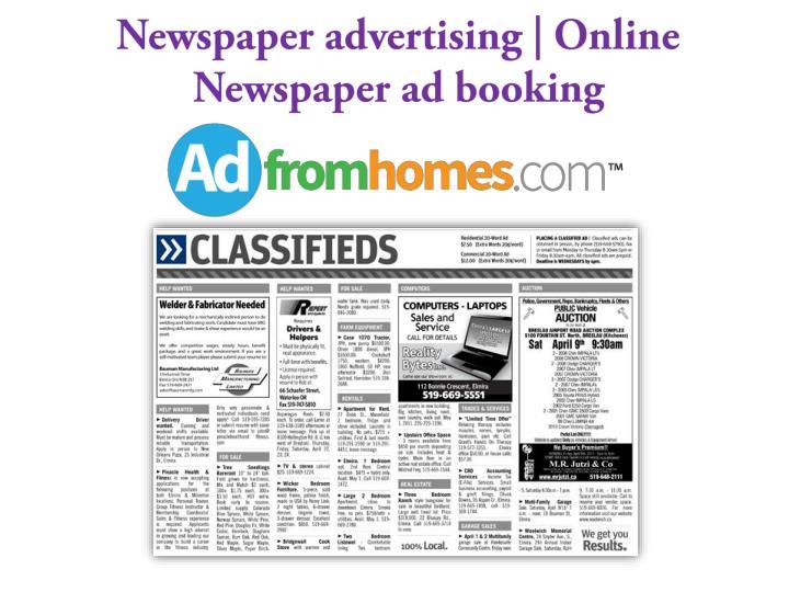 Newspaper advertising online newspaper ad booking