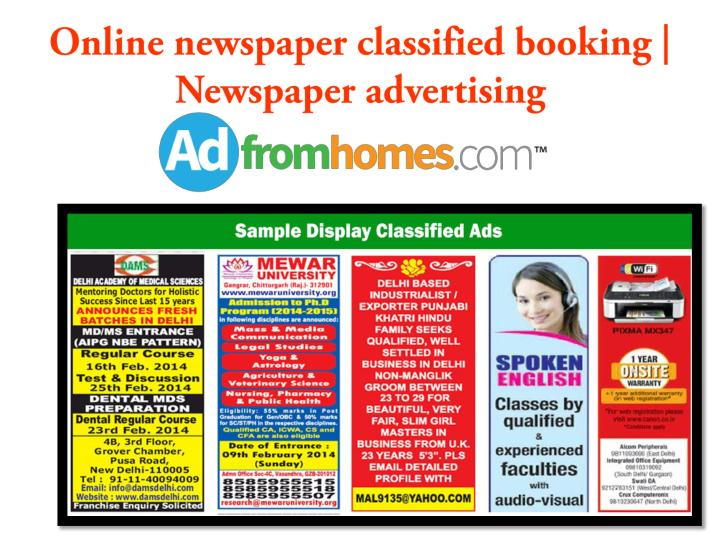 Online newspaper classified booking newspaper advertising