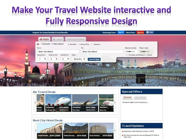 Make Your Travel Website interactive and Fully Responsive Design