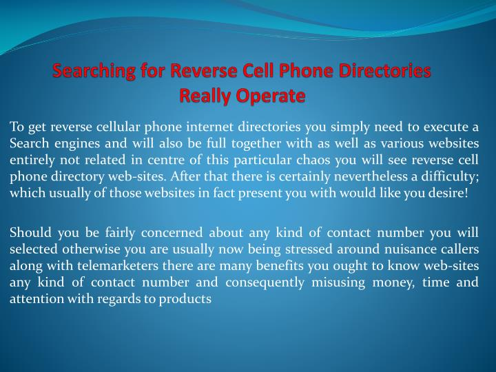 searching for reverse cell phone directories really operate n.