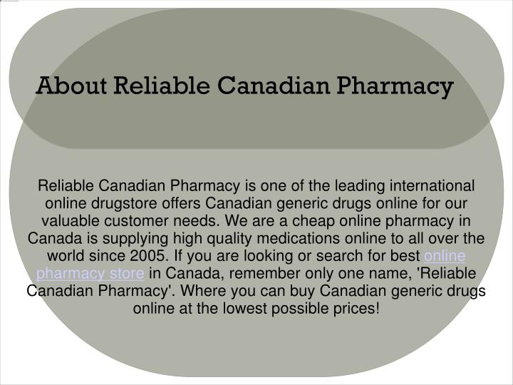 About reliable canadian pharmacy