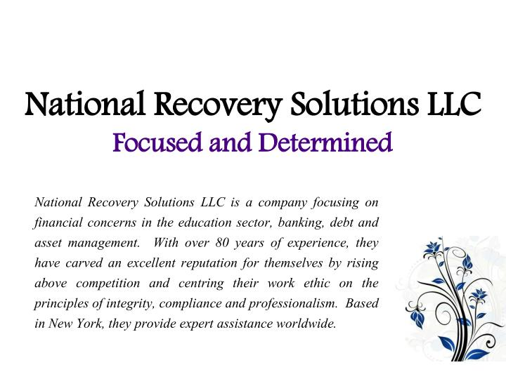 national recovery solutions llc focused and determined n.