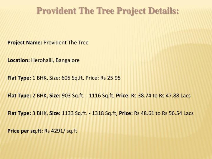 Provident The Tree Project Details: