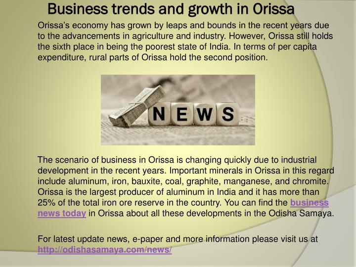 business trends and growth in orissa n.