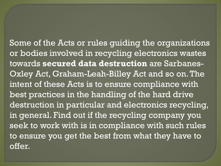 Some of the Acts or rules guiding the organizations or bodies involved in recycling electronics wastes towards