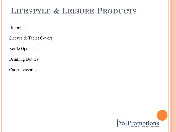 lifestyle leisure products n.