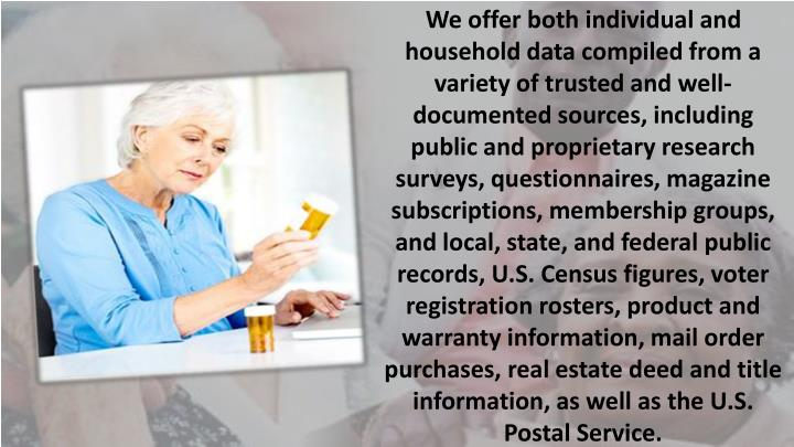 We offer both individual and household data compiled from a variety of trusted and well-documented sources, including public and proprietary research surveys, questionnaires, magazine subscriptions, membership groups, and local, state, and federal public records, U.S. Census figures, voter registration rosters, product and warranty information, mail order purchases, real estate deed and title information, as well as the U.S. Postal Service.