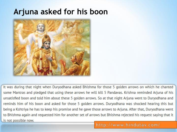 Arjuna asked for his boon