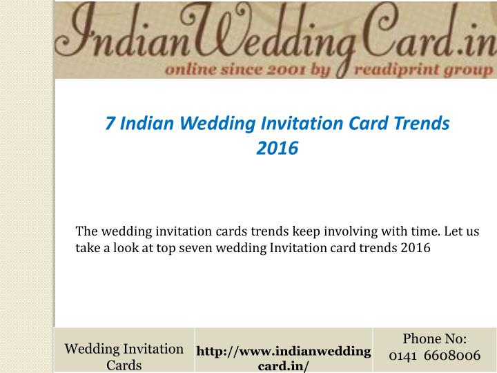Ppt indian wedding invitation card trends powerpoint presentation 7 indian wedding invitation card trends 2016 stopboris Image collections