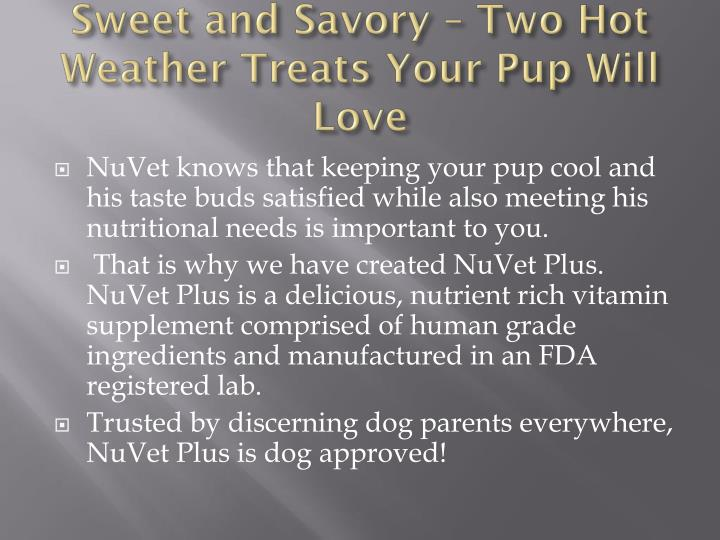 Sweet and Savory – Two Hot Weather Treats Your Pup Will Love