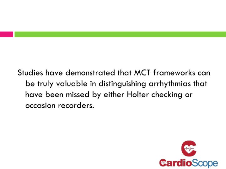 Studies have demonstrated that MCT frameworks can be truly valuable in distinguishing arrhythmias that have been missed by either