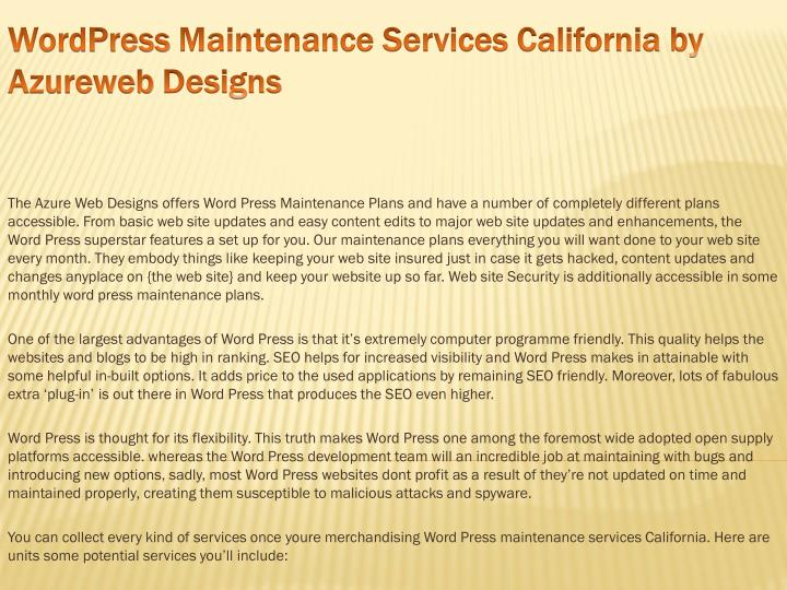 wordpress maintenance services california by azureweb designs n.
