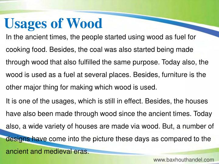 Usages of Wood