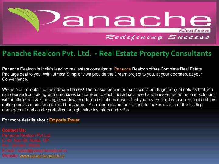 Panache Realcon Pvt. Ltd.  - Real Estate Property Consultants