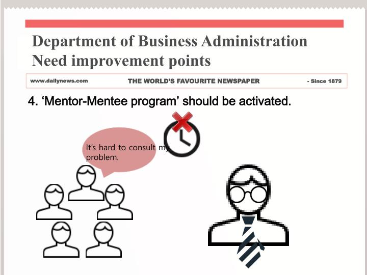 Department of Business Administration     Need improvement points