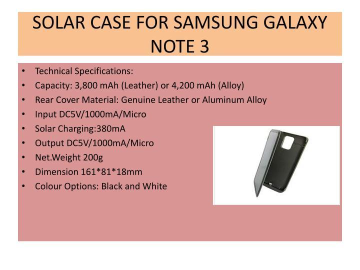 SOLAR CASE FOR SAMSUNG GALAXY NOTE 3