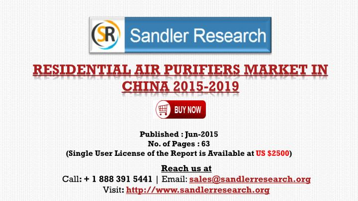 Residential air purifiers market in china 2015 2019