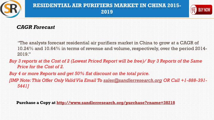 Residential air purifiers market in china 2015 20191