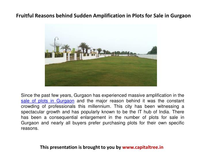 fruitful reasons behind sudden amplification in plots for sale in gurgaon n.