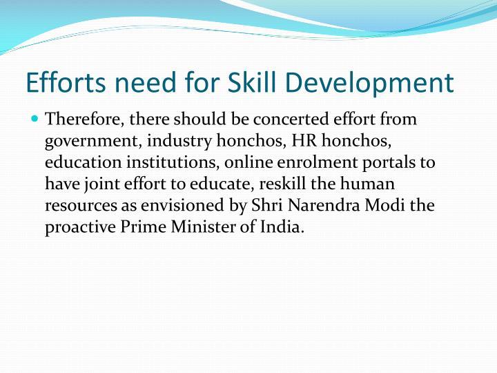 Efforts need for Skill Development