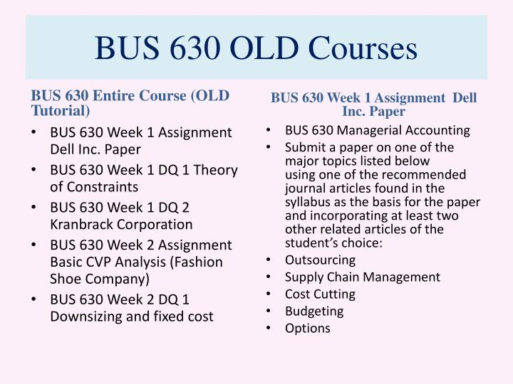 Bus 630 old courses1