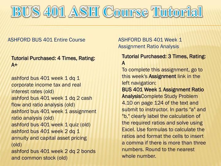 Bus 401 ash course tutorial