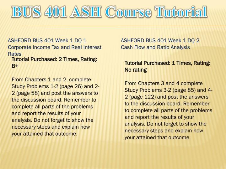 Bus 401 ash course tutorial1