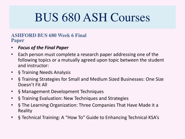 BUS 680 ASH Courses