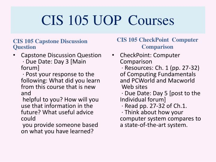 cis 105 capstone discussion