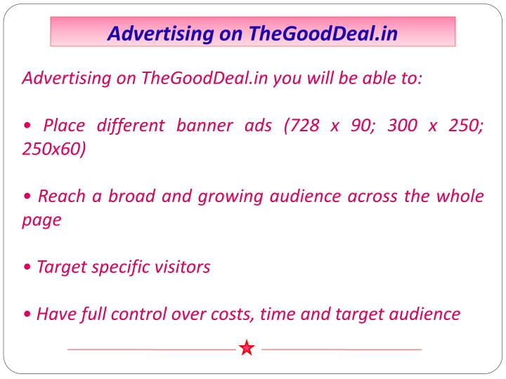 Advertising on TheGoodDeal.in