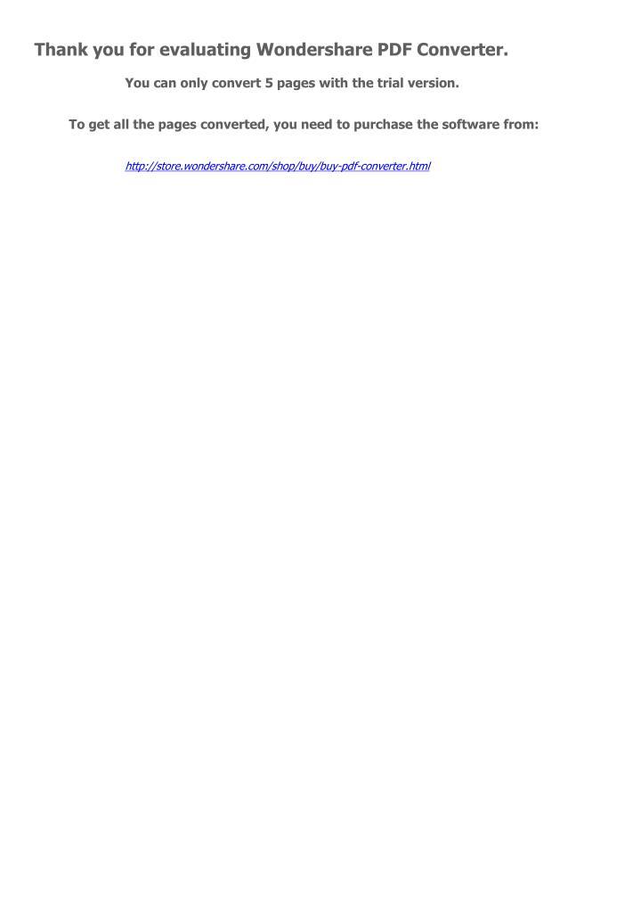 Thank you for evaluating Wondershare PDF Converter.