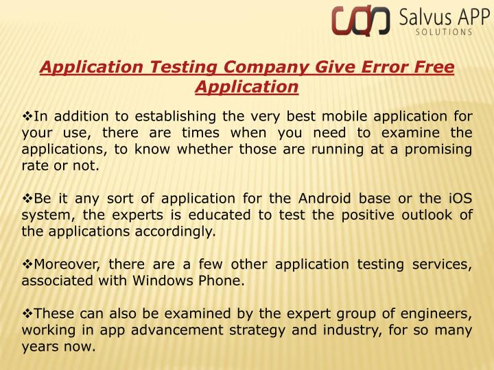 Application Testing Company Give Error Free Application