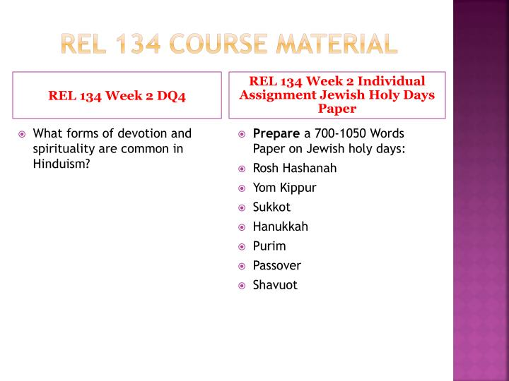 week 5 rel 134 Rel/134 complete class week 1 – 5 all assignments and discussion questions – a+ graded course material click on the link below to purchase a+ work for rel134.