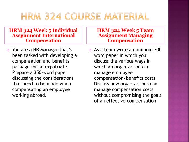 hrm324 total compansation wage management process Hrm 324 week 5 total compensation plan design a 525- to 700-word total compensation plan (written in the third person voice) for an imaginary competitor of amazon, home depot, starbucks, fedex corporation, or bristol-myers squibb.