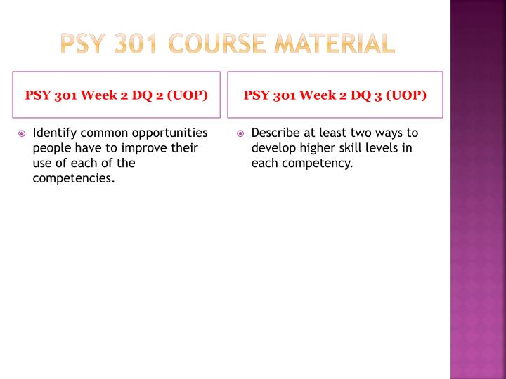 psy 301 individual development plan Psy 301 week 2 individual development plan write a 1,050- to 1,400-word individual development plan for a skill you wish to enhance in yourself analyze the competencies needed for.