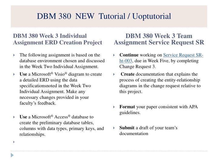 dbm 380 week 3 erd creation project Create a detailed erd using the entities and attributes for driver's log document found on the dbm 380 week 3 individual assignment erd creation project.
