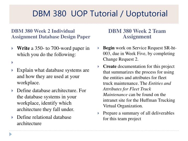 dbm 380 database concepts The bachelor of science in information technology with a concentration in multimedia and visual communication program at university of phoenix is designed to teach.
