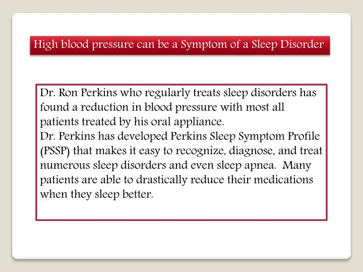 High blood pressure can be a Symptom of a Sleep