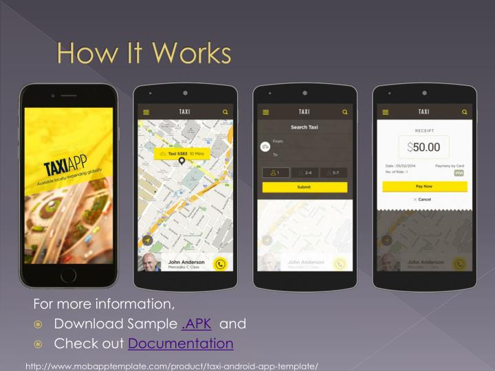 Ppt taxi android mobile application template powerpoint how it works toneelgroepblik Choice Image
