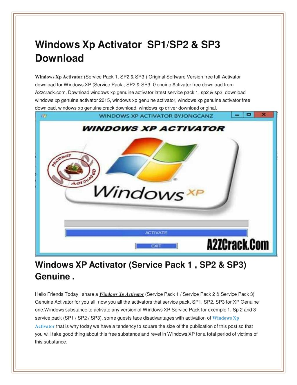 windows xp genuine crack download