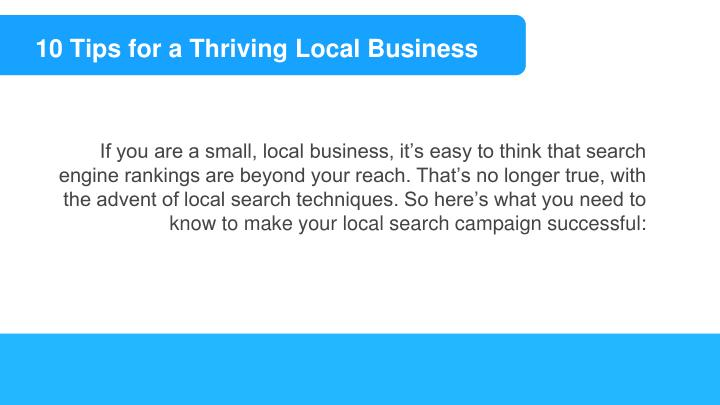 10 Tips for a Thriving Local Business