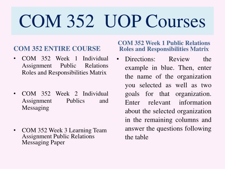 Com 352 uop courses1