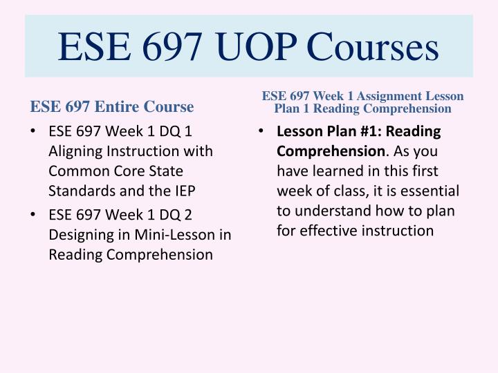Ese 697 uop courses1
