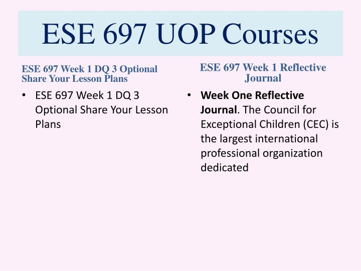 ESE 697 UOP Courses