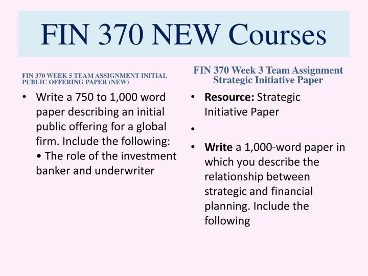 fin 370 full course with discussion Fin 370 week 2 chapter questions 14-1,14-3,14-4 • week 2 team assignment company evaluation paper - starbucks • week 3 discussion question 1 how would you define working capital what could happen if an organization neglected to manage its working capital.