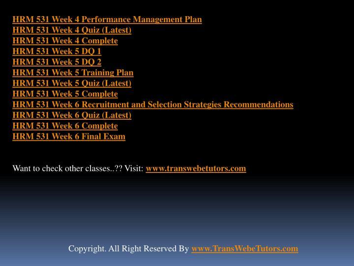 HRM 531 Week 4 Performance Management Plan