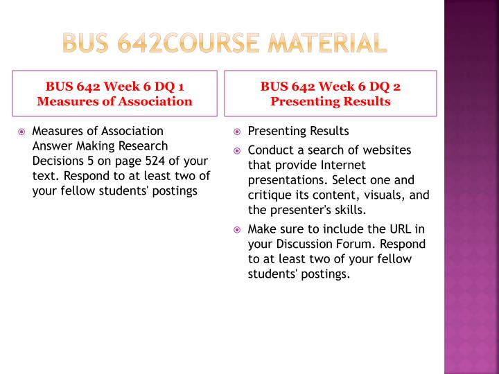 BUS 642Course Material