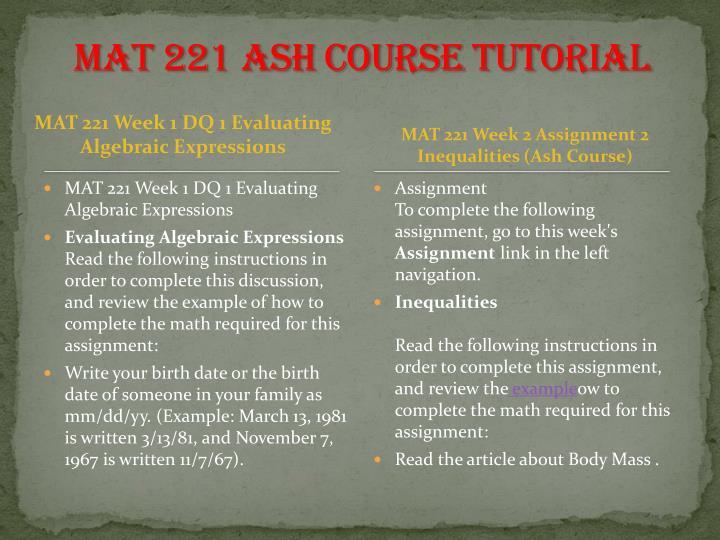 mat221 week 3 assignment