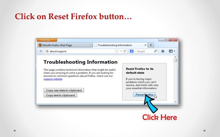 Click on Reset Firefox